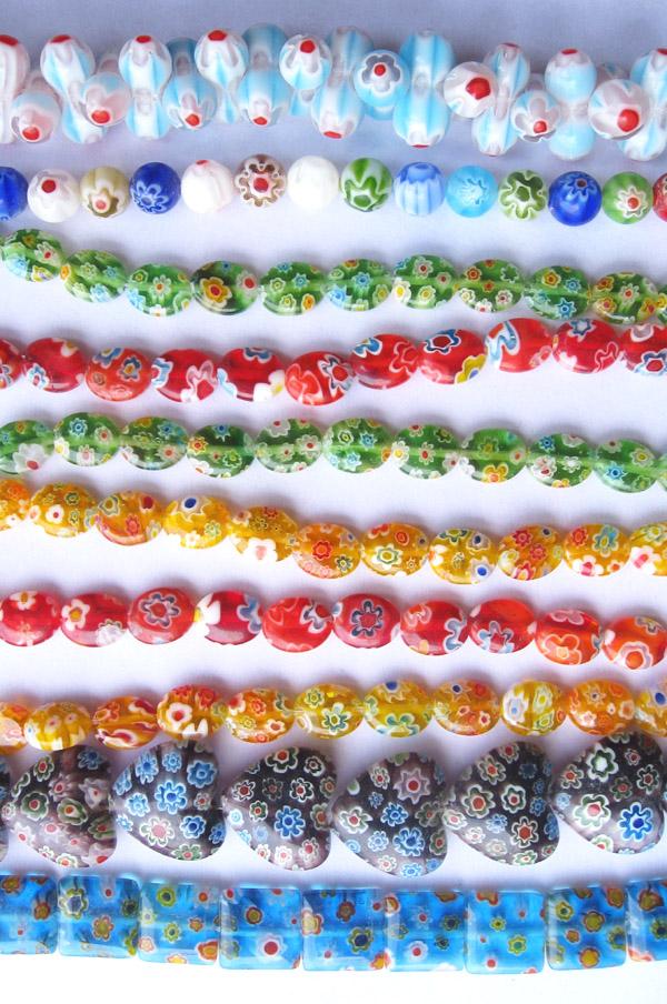 Millfiori glass beads