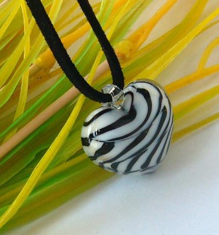 zebra heart glass pendant necklace