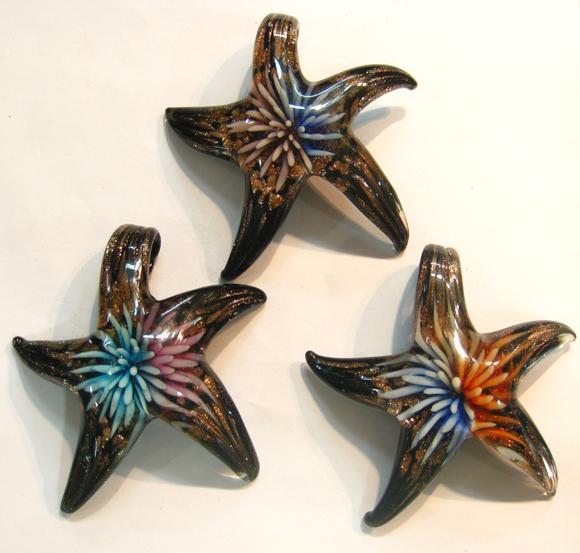 whosale star flower murano glass pendants